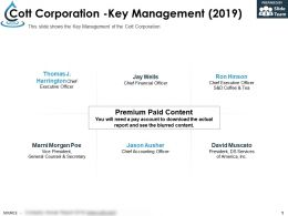 Cott Corporation Key Management 2019