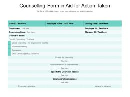 Counselling Form In Aid For Action Taken