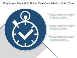 Countdown Clock With Tick Or Time Completed Or Finish Time