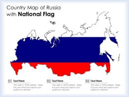 Country Map Of Russia With National Flag