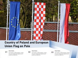 Country Of Poland And European Union Flag On Pole