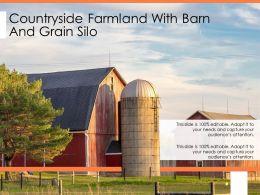 Countryside Farmland With Barn And Grain Silo