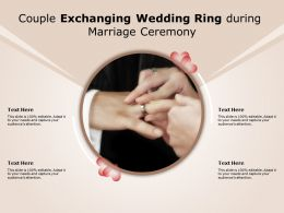 Couple Exchanging Wedding Ring During Marriage Ceremony