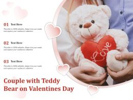 Couple With Teddy Bear On Valentines Day
