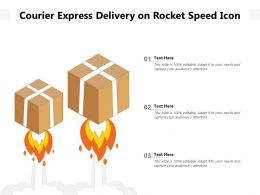 Courier Express Delivery On Rocket Speed Icon