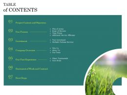 Courtyard Maintenance Proposal Table Of Contents Ppt Powerpoint Presentation Icon