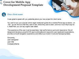 Cover For Mobile App Development Proposal Template Ppt Powerpoint Presentation Styles