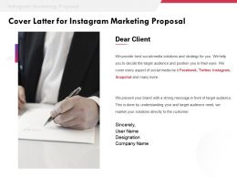 Cover Latter For Instagram Marketing Proposal Ppt Powerpoint Presentation Designs Download