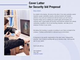 Cover Latter For Security Bid Proposal Ppt Powerpoint Presentation Portfolio