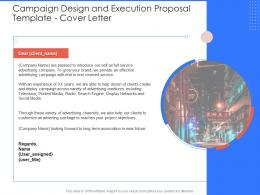 Cover Letter Campaign Design And Execution Proposal Template Ppt Powerpoint Background