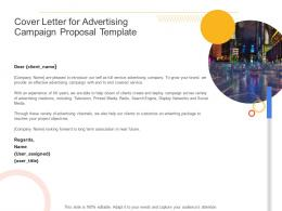 Cover Letter For Advertising Campaign Proposal Template Ppt Powerpoint Presentation Icon Deck