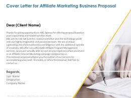 Cover Letter For Affiliate Marketing Business Proposal Ppt Powerpoint Presentation