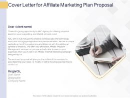 Cover Letter For Affiliate Marketing Plan Proposal Ppt Powerpoint Presentation Layouts Format Ideas