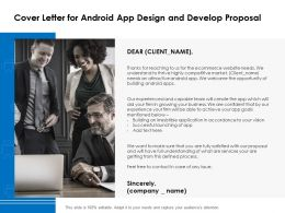 Cover Letter For Android App Design And Develop Proposal Ppt Powerpoint Presentation Summary