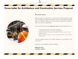 Cover Letter For Architecture And Construction Services Proposal Ppt Powerpoint Styles