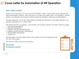 Cover Letter For Automation Of Hr Operation Information Management Ppt Presentation Slide