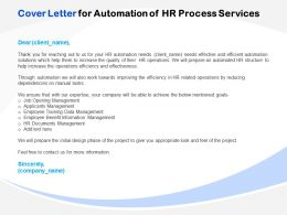 Cover Letter For Automation Of HR Process Services Ppt File Aids