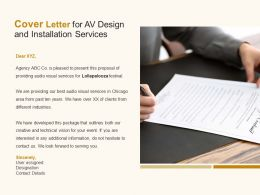 Cover Letter For Av Design And Installation Services Ppt Powerpoint Presentation File Outfit