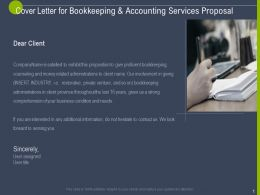 Cover Letter For Bookkeeping And Accounting Services Proposal Ppt Powerpoint Deck