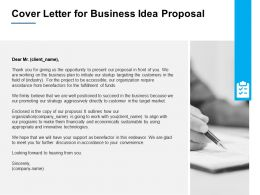 Cover Letter For Business Idea Proposal Ppt Powerpoint Presentation File Slides