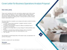 Cover Letter For Business Operations Analysis Proposal Ppt Powerpoint Professional