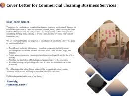 Cover Letter For Commercial Cleaning Business Services Ppt Templates
