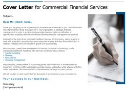 Cover Letter For Commercial Financial Services Ppt Powerpoint Presentation Outline Example