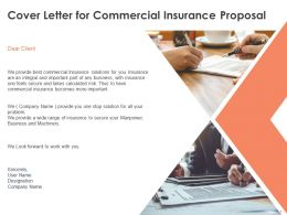 Cover Letter For Commercial Insurance Proposal Ppt Powerpoint Presentation File