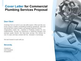 Cover Letter For Commercial Plumbing Services Proposal Ppt Powerpoint Presentation Ideas Objects