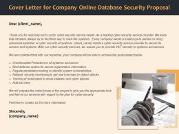 Cover Letter For Company Online Database Security Proposal Ppt File Slides