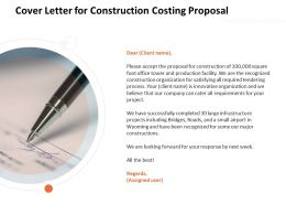 Cover Letter For Construction Costing Proposal Ppt Powerpoint Presentation File