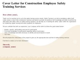 Cover Letter For Construction Employee Safety Training Services Ppt File Brochure