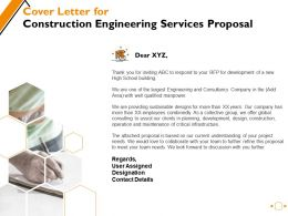 Cover Letter For Construction Engineering Services Proposal Ppt Powerpoint Presentation Layouts Layouts