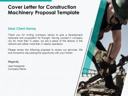 Cover Letter For Construction Machinery Proposal Template Ppt Powerpoint Presentation Model Deck