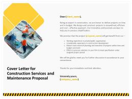 Cover Letter For Construction Services And Maintenance Proposal Ppt Template
