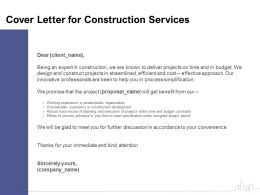 Cover Letter For Construction Services Ppt Powerpoint Presentation Model Inspiration
