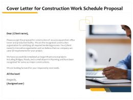Cover Letter For Construction Work Schedule Proposal Ppt Powerpoint Presentation Styles