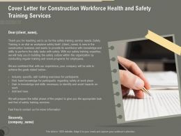 Cover Letter For Construction Workforce Health And Safety Training Services Ppt Infographics