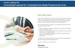 Cover Letter For Consulting Proposal For Creating Social Media Presence Services Ppt File Design