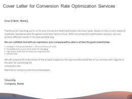 Cover Letter For Conversion Rate Optimization Services Ppt Powerpoint Presentation Portfolio Brochure