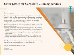 Cover Letter For Corporate Cleaning Services Ppt Icon Graphics