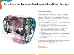 Cover Letter For Corporate Employees Cultural Event Services Ppt Powerpoint Presentation Good