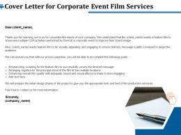 Cover Letter For Corporate Event Film Services Ppt File Format Ideas