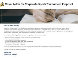 Cover Letter For Corporate Sports Tournament Proposal Ppt Powerpoint Ideas Visuals