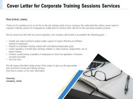 Cover Letter For Corporate Training Sessions Services Information Ppt File Brochure