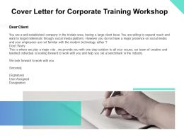 Cover Letter For Corporate Training Workshop Ppt Powerpoint Presentation Model Aids