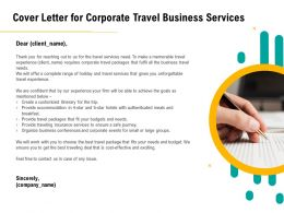 Cover Letter For Corporate Travel Business Services Experience Ppt Layouts