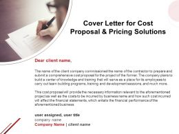 Cover Letter For Cost Proposal And Pricing Solutions Ppt Powerpoint Presentation Styles Slideshow