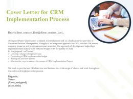 Cover Letter For CRM Implementation Process Ppt Powerpoint Presentation Topics