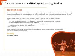 Cover Letter For Cultural Heritage And Planning Services Ppt Gallery